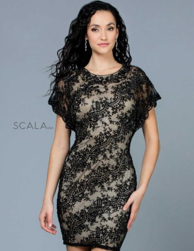Scala Evening Black Nude Front