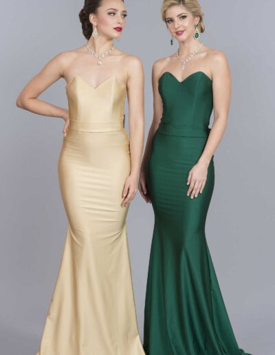 Atria soft yellow & forest green dresses